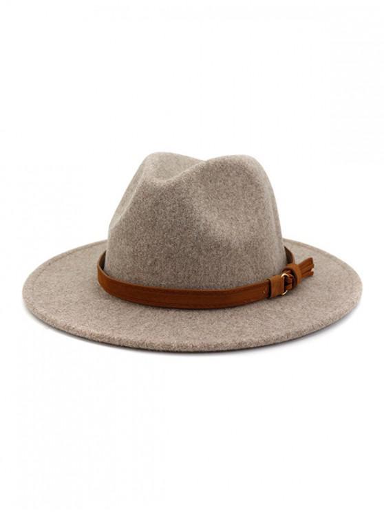 fancy Strap Decorated Fuzzy Jazz Hat - WARM WHITE
