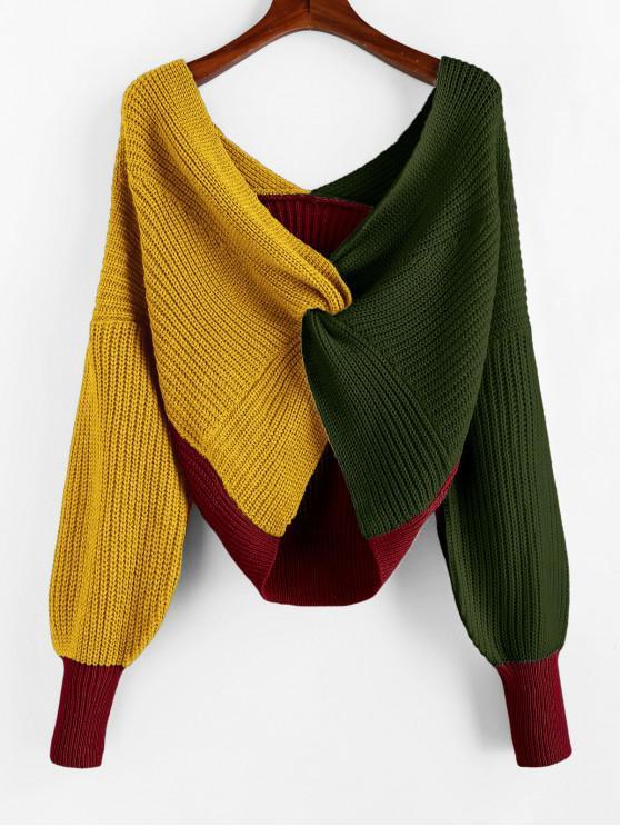 women Plunge Colorblock Twist Sweater - MULTI-E S