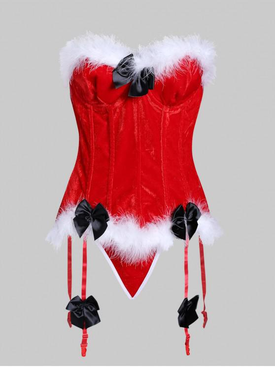 ladies Fur Trim Bowknot Lace Up Garter Corset Set - LAVA RED 2XL