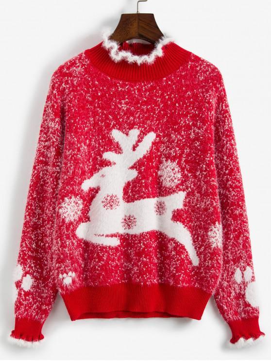 Pull de Noël Fourré Cerf Graphique à Col Montant - Rouge Taille Unique