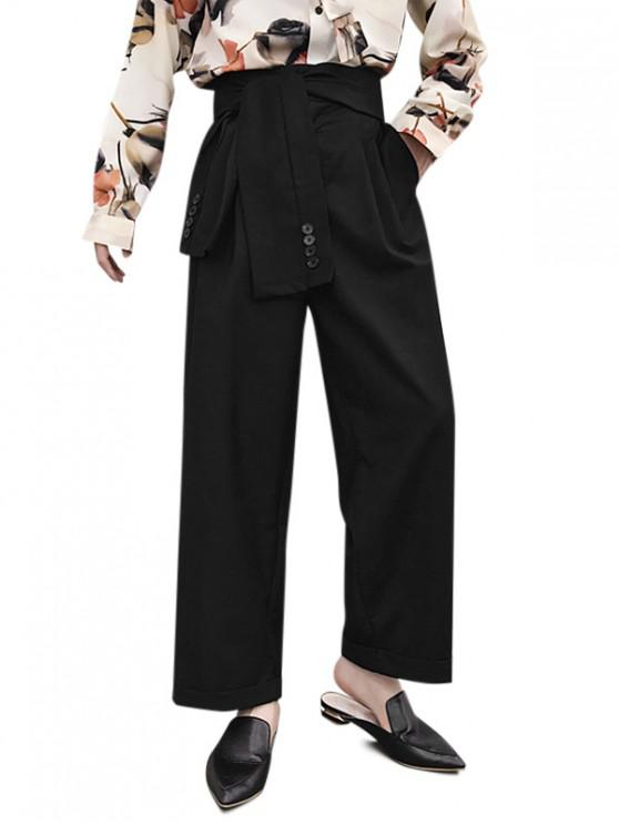 new Front Tie High Waist Palazzo Pants - BLACK XS