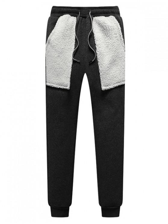Contraste da pele do falso bolso emenda Fleece Jogger Pants - Cinza de Carbono XS