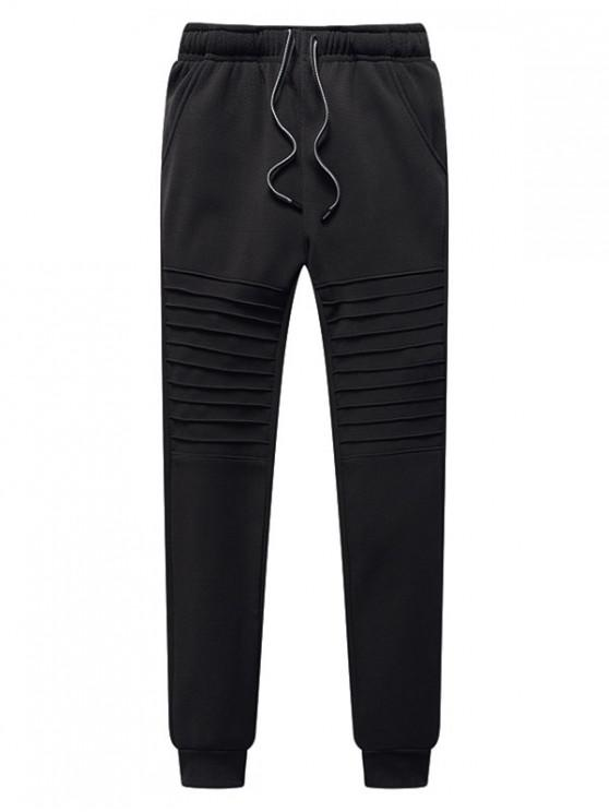 trendy Pleated Solid Drawstring Fleece Jogger Pants - CARBON GRAY M