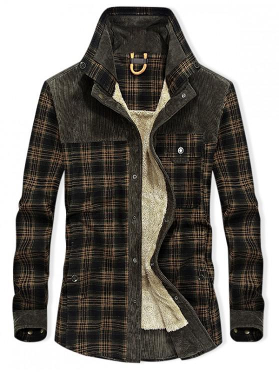 ladies Vintage Checked Print Fleece Jacket - ARMY GREEN L