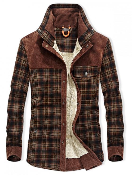 fashion Vintage Checked Print Fleece Jacket - BLOOD RED M