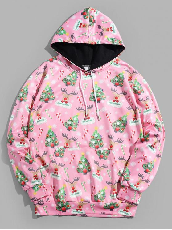 new Christmas Tree Animal Printed Hoodie - PINK L