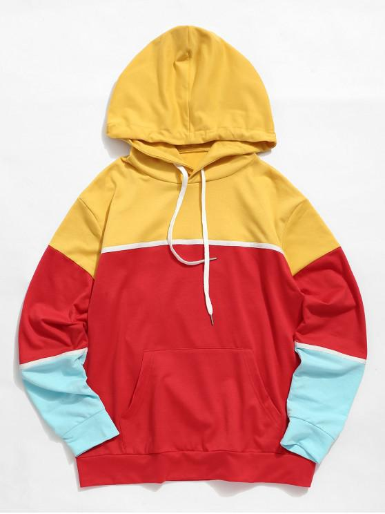 hot ZAFUL Color Blocking Kangaroo Pocket Casual Hoodie - MULTI XL