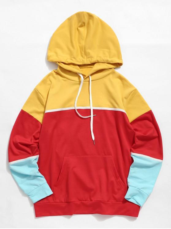 affordable Color Blocking Kangaroo Pocket Casual Hoodie - MULTI M