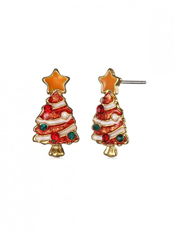 trendy Christmas Tree Star Stud Earrings - GOLD