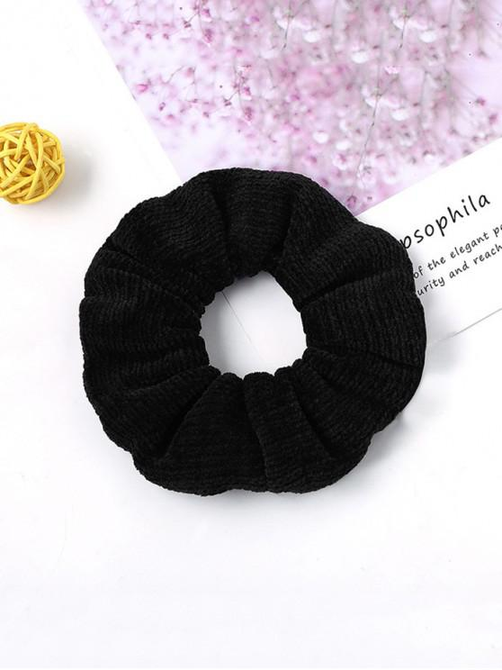 women Solid Suede Intestine Ring Elastic Hair Band - BLACK