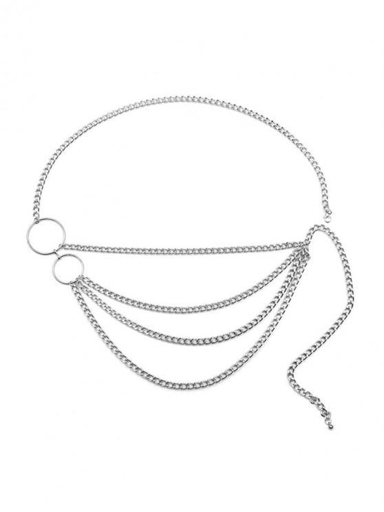 La forma redonda de la cintura en capas de metal correa de cadena - Plata