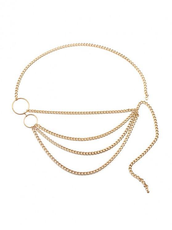 online Round Shape Layered Metal Waist Chain Belt - GOLD