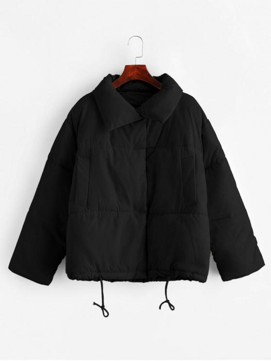 fancy Snap Button Drawstring Pocket Padded Coat - BLACK L