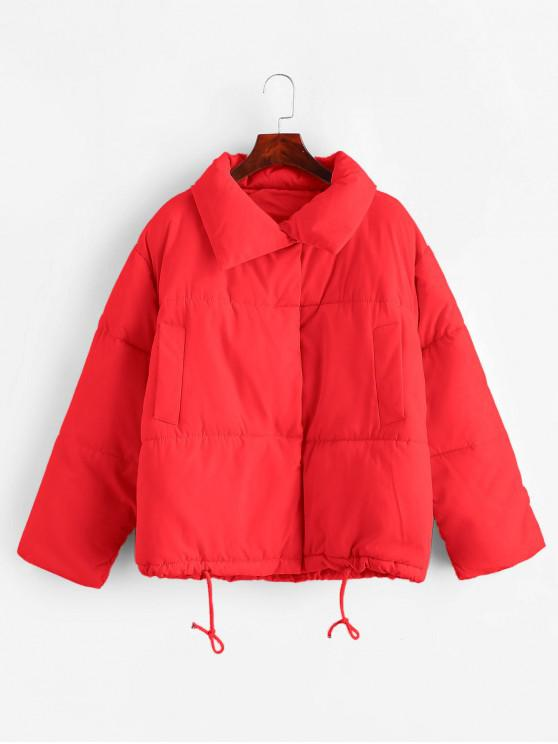 women Snap Button Drawstring Pocket Padded Coat - RED M
