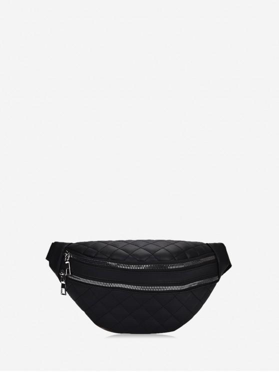 online Simple Expansion Pockets Crossbody Waist Bag - BLACK