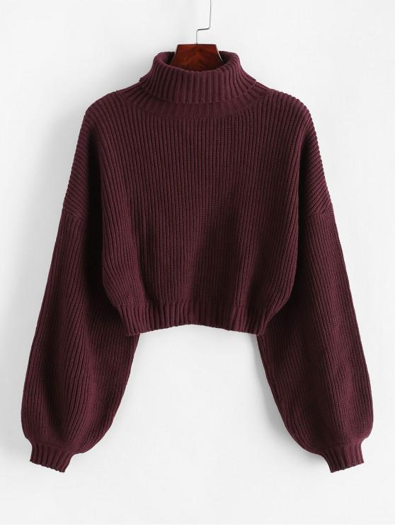 new ZAFUL Turtleneck Lantern Sleeve Cropped Sweater - RED WINE M