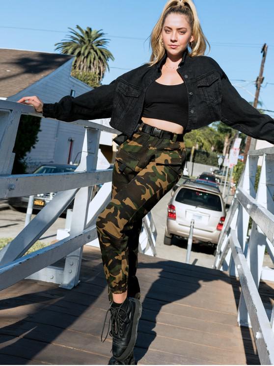 unique ZAFUL X Luna Montana Camouflage Buckle Belt Jogger Pants - ARMY GREEN M