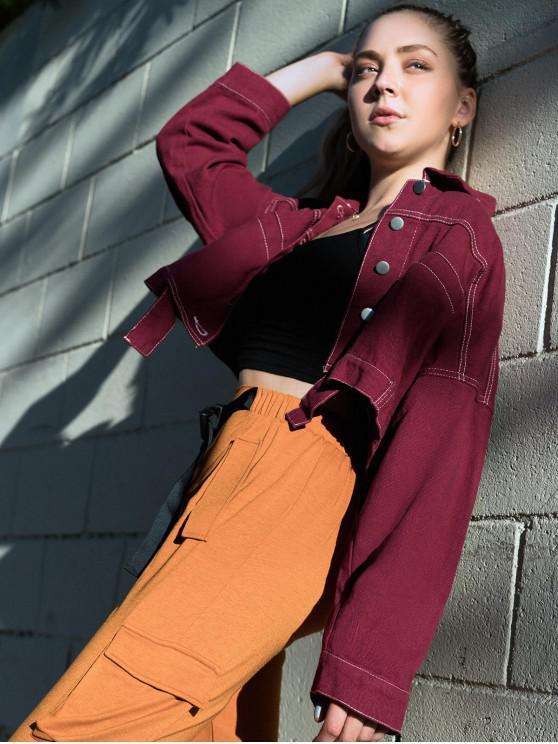 lady ZAFUL X Luna Montana Button Front Faux Pockets Cropped Jacket - FIREBRICK M