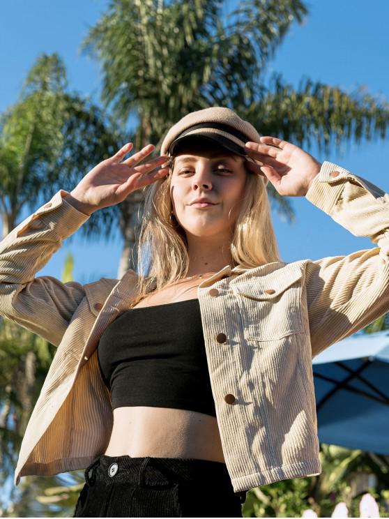 womens ZAFUL X Luna Montana Corduroy Drop Shoulder Pocket Jacket - APRICOT XL