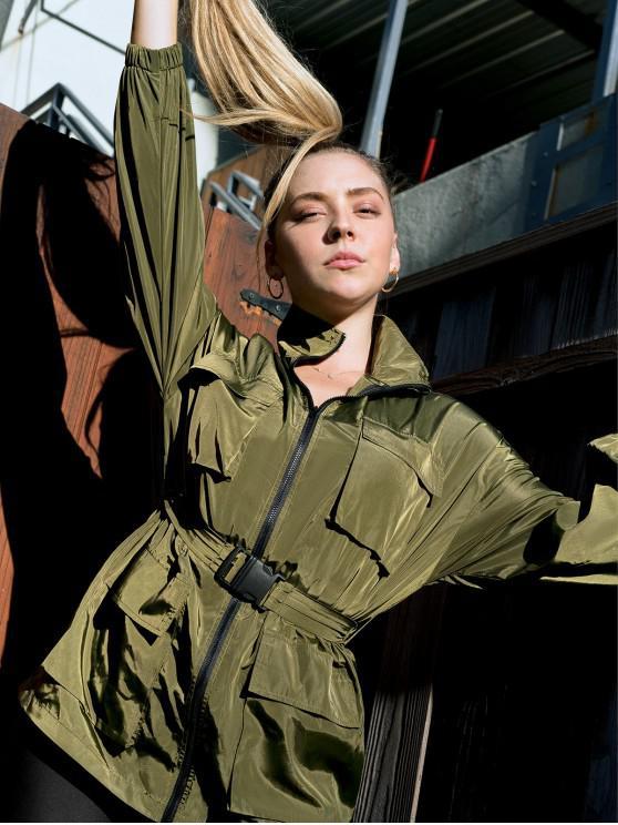 ladies ZAFUL X Luna Montana Zip Up Pockets Solid Windbreaker Jacket - ARMY GREEN L