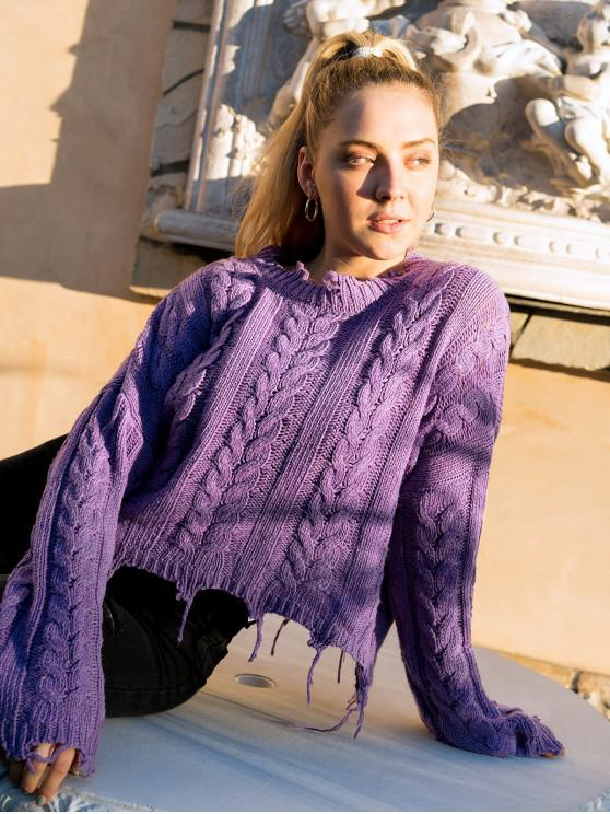 shops ZAFUL X Luna Montana Ripped Cable Knit Solid Chunky Sweater - PURPLE ONE SIZE