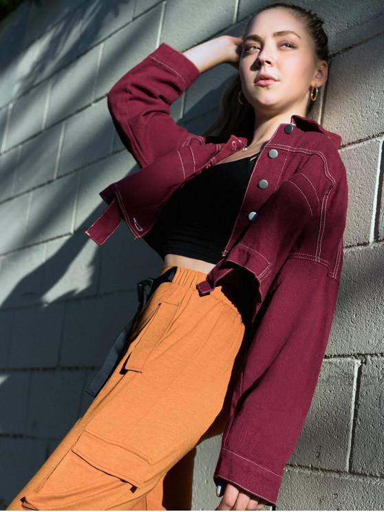 buy ZAFUL X Luna Montana Button Front Faux Pockets Cropped Jacket - FIREBRICK L