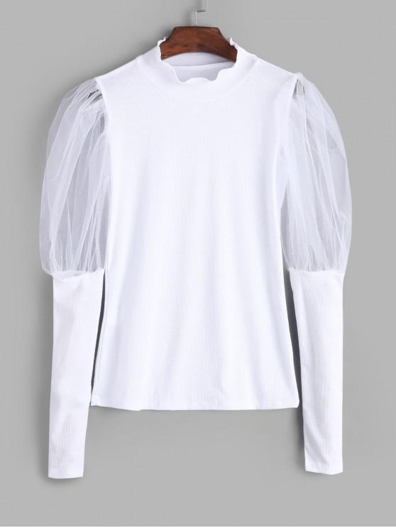 fancy Ribbed Mesh Sheer Gigot Sleeve Knitwear - WHITE L