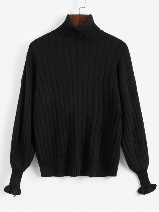 lady Loose Turtleneck Sweater - BLACK ONE SIZE