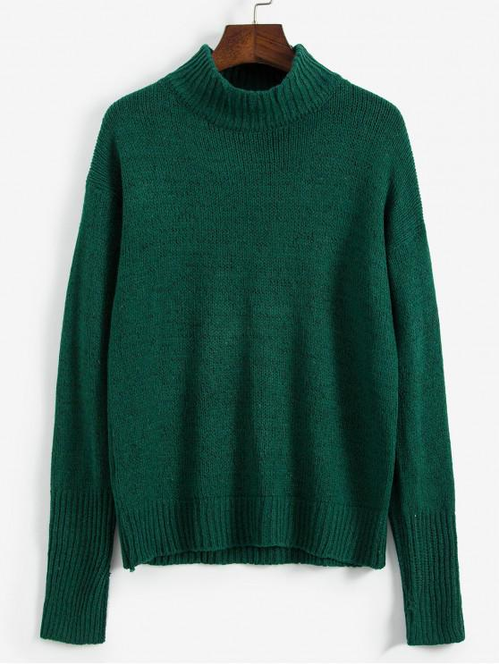 outfit Drop Shoulder Textured Mock Neck Sweater - DEEP GREEN ONE SIZE