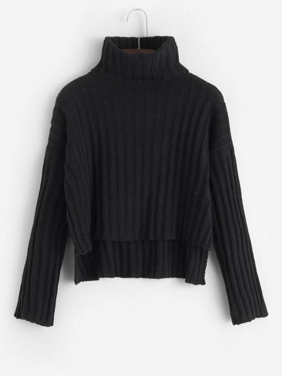ladies High Low Turtleneck Slit Jumper Sweater - BLACK ONE SIZE