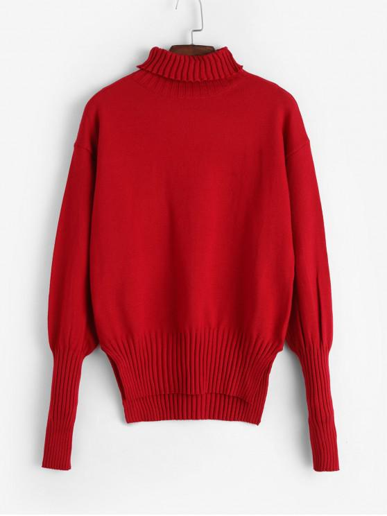 best Turtleneck High Low Slit Jumper Sweater - RED ONE SIZE