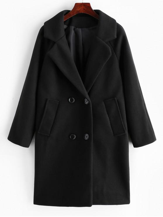 buy Wool Blend Double Breasted Coat - BLACK XL