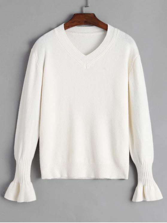 online V Neck Sweater - WARM WHITE ONE SIZE