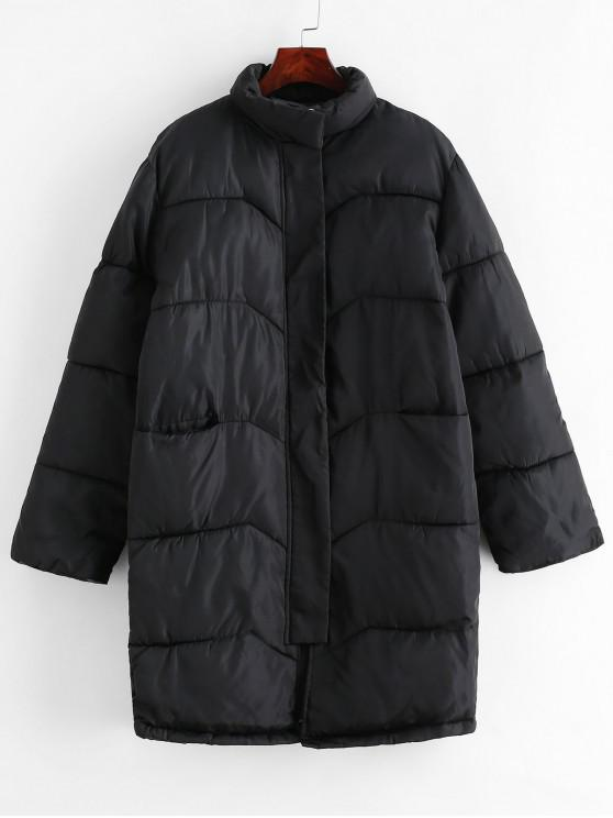 Manteau Matelassé Long avec Poche - Noir 2XL