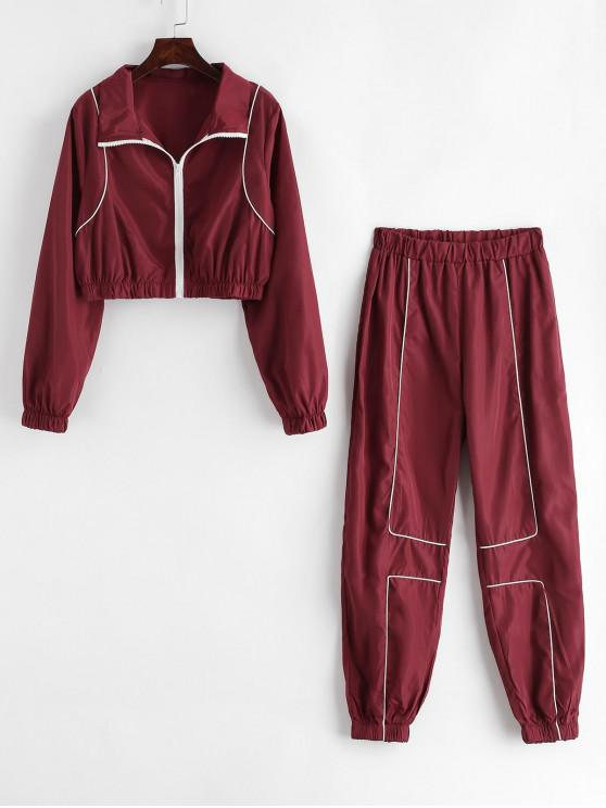 affordable Contrast Piping Zip Up Windbreaker Jogger Pants Set - RED WINE M