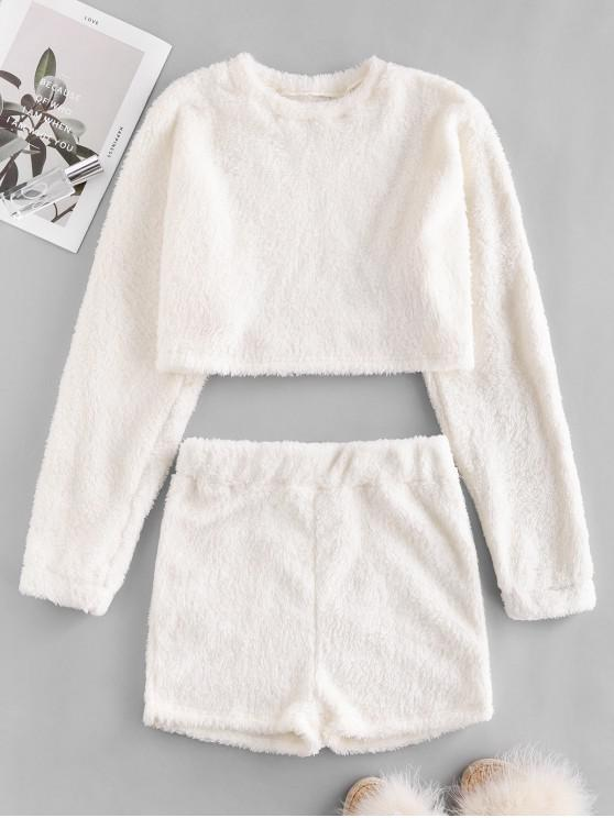 lady Plain Cropped Fluffy Two Peice Set - WHITE S