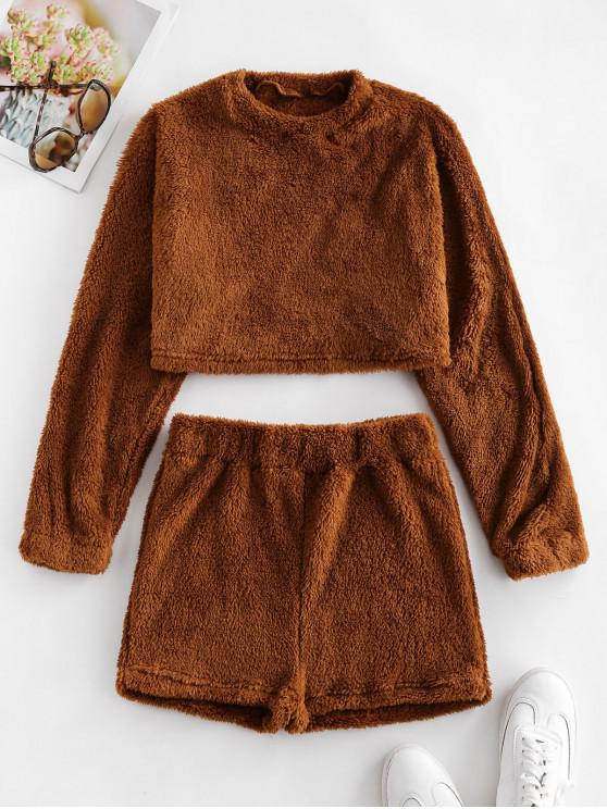 new Plain Cropped Fluffy Two Peice Set - BROWN S