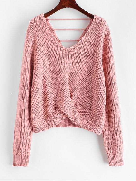women ZAFUL Laddering Cut Out Twist Front V Neck Sweater - KHAKI ROSE ONE SIZE