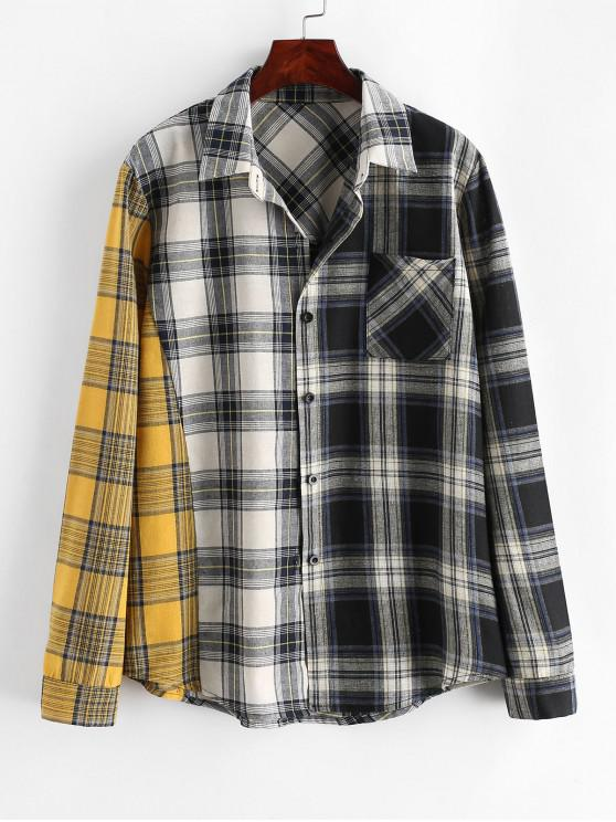 lady ZAFUL Button Down Contrast Plaid Front Pocket Shirt - MULTI XL