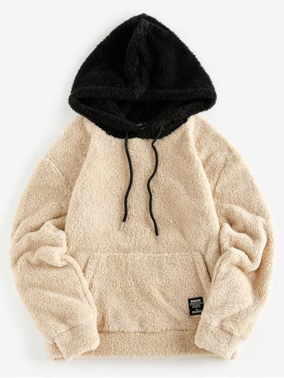 trendy ZAFUL Kangaroo Pocket Fluffy Faux Fur Hoodie - TAN M