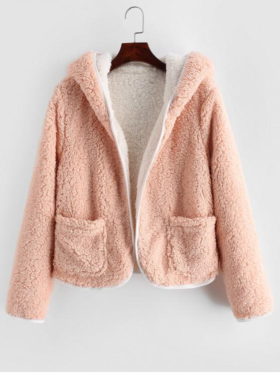best ZAFUL Patched Pockets Open Front Fluffy Teddy Jacket - PINK L