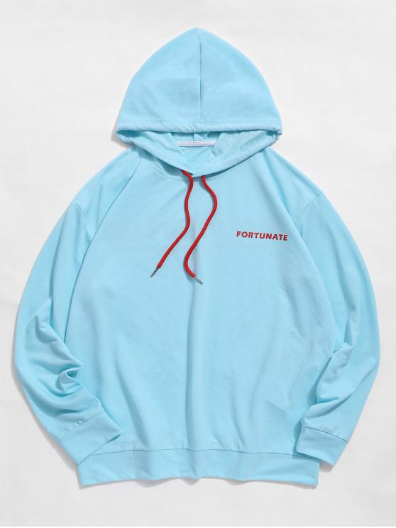 fashion ZAFUL Letter Printed Drawstring Casual Hoodie - DAY SKY BLUE 2XL