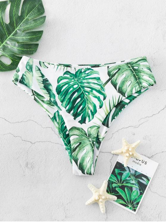 buy ZAFUL Palm Print High Waisted High Leg Bikini Bottom - MULTI-A S