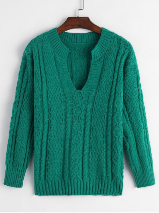 online V-notch Cable Knit Sweater - GREEN ONE SIZE