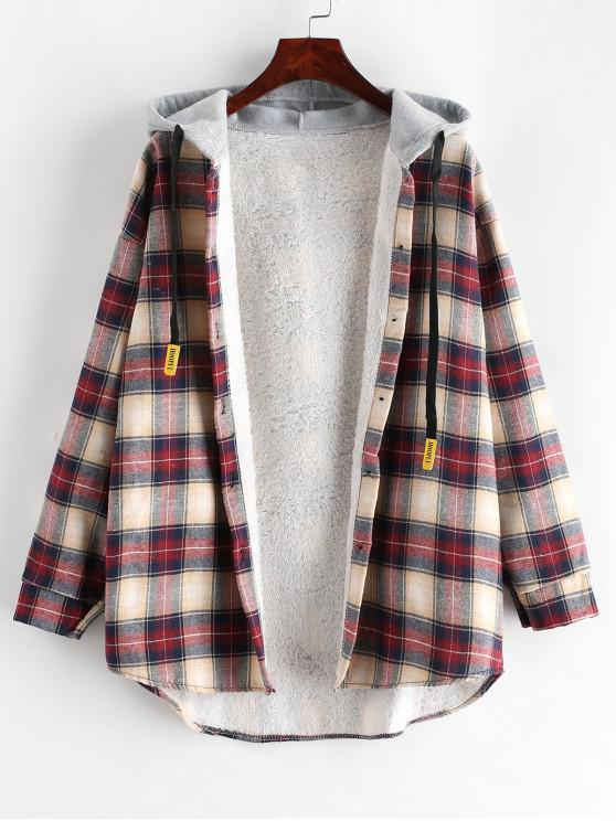 chic Plaid Buttoned Curved Hem Hooded Coat - MULTI-A M