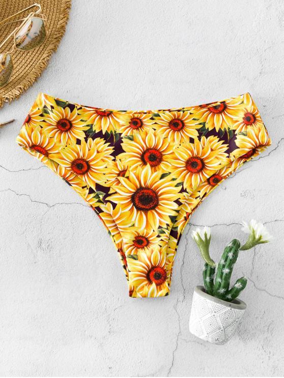 shops ZAFUL Sunflower Print High Waisted Bikini Bottom - MULTI-A S