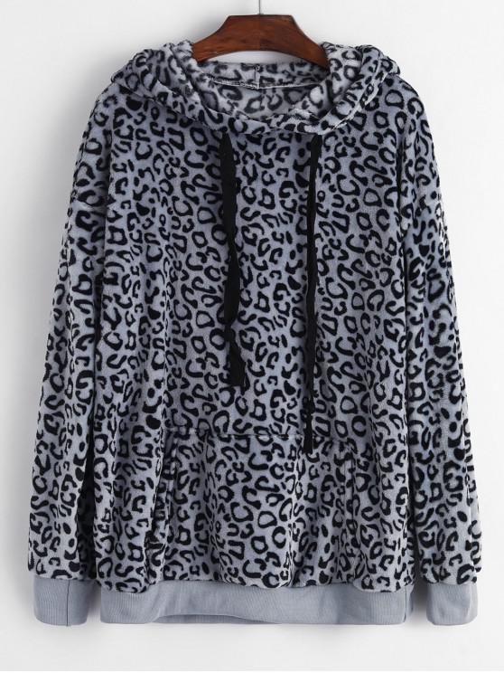 fashion Leopard Print Front Pocket Fluffy Drawstring Hoodie - GRAY M
