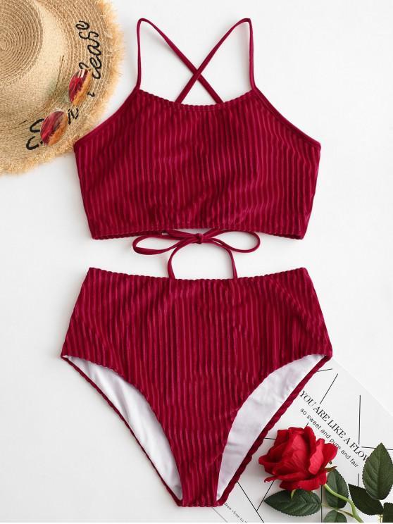 ZAFUL pețiol de catifea barete ridicat Waisted Tankini Swimsuit - Lava Roșu M