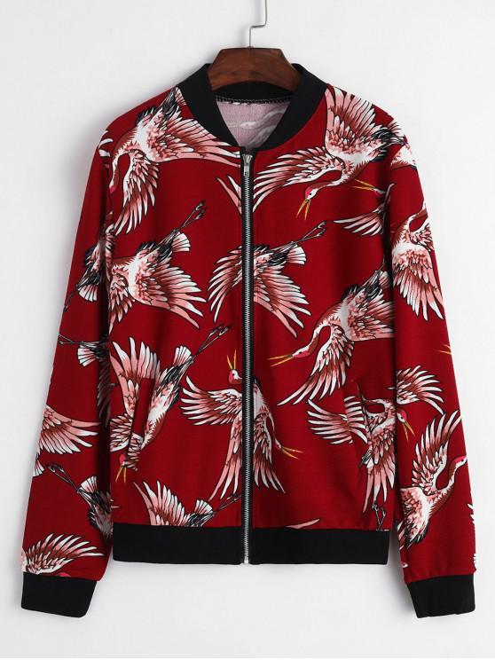 buy Crane Graphic Zip Up Bomber Jacket - RED L