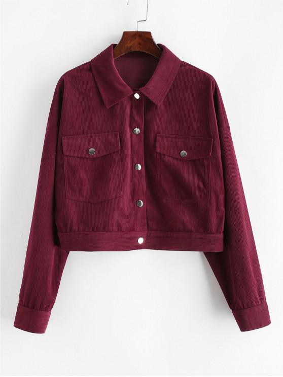 sale ZAFUL Snap Button Corduroy Crop Jacket - RED WINE L